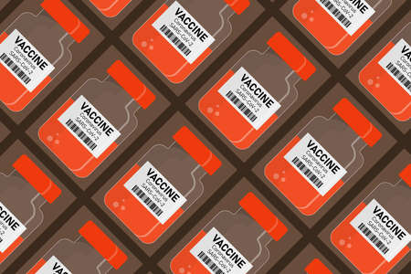 Vector background with COVID-19 SARS vaccine bottles Pattern, template in flat style for textiles, medical packaging.
