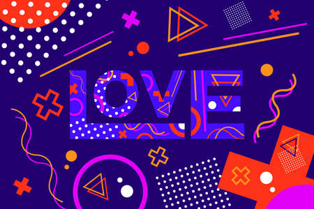 Word Love colored Memphis style. Valentines Day vector illustration design Banner.