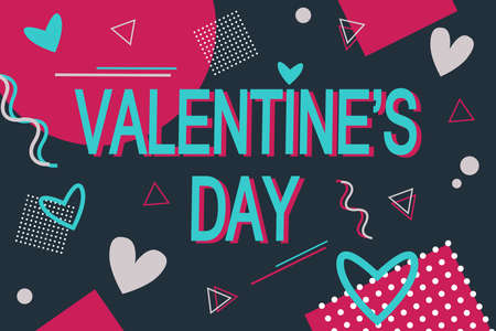 Words Valentines Day colored Memphis style. Stock vector illustration design Banner.