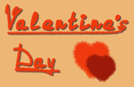 Vector fluffy hearts and words valentines day on orange background. Cute modern design surface.