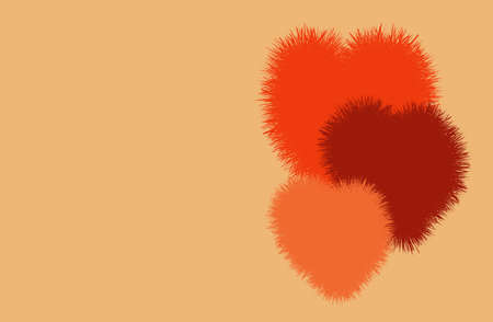 Vector fluffy hearts. Valentines day bacckground for banner, poster, card. Cute modern design surface.