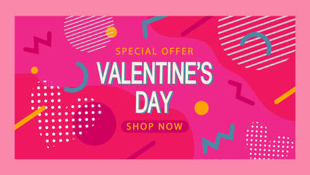 Banner for Valentines Day colored pink in Memphis style. Stock vector illustration design.