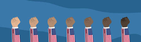 Raised american usa flag fist. Concept of protest, rebel, demands, revolution, unity, fighting for human rights.