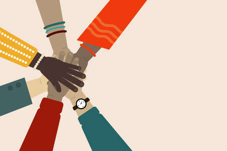 Vector illustration of international team building. Concept of multinational team. Business partners with stack of hands