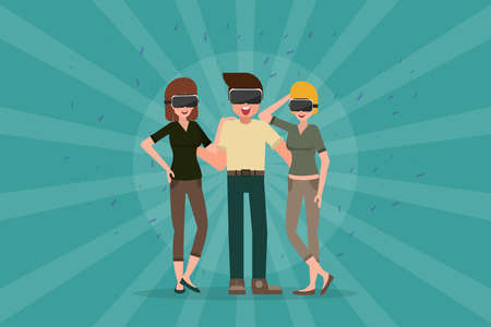 man and women in the glasses of virtual reality. vector cartoon illustration. augmented reality party. Illustration