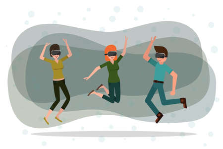 man and women dancing in the glasses of virtual reality. vector cartoon illustration. augmented reality party.