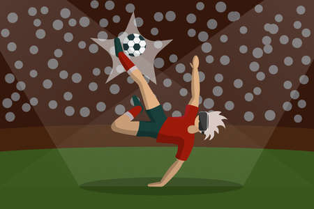 Young Man In Virtual Reality Glasses Play Football Over Stadium Background. Modern Vr Technology Concept. Illustration