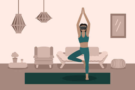Woman use Virtual reality machine VR for workout, exercise with imagination, vector conceptual illustration. Illustration