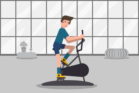 Man training fitness on exercise bike. Active sport people in gym. Health lifestyle concept. Stock vector illustration