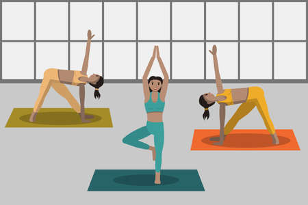 sporty women doing fitness exercises on yoga mat. girls training in gym. workout healthy lifestyle concept. flat modern