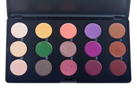 Palette of colorful eye shadows