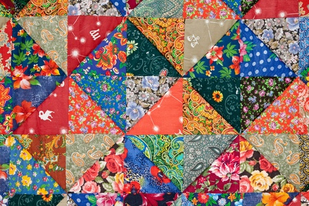 patchwork quilt: Background of the colorful patchwork Stock Photo