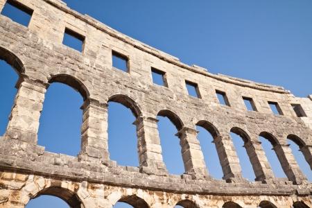 Wall of the ancient coliseum closeup. Pula. Croatia Stock Photo