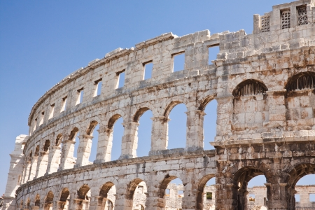Ancient Roman Amphitheater in Croatia  Pula Stock Photo