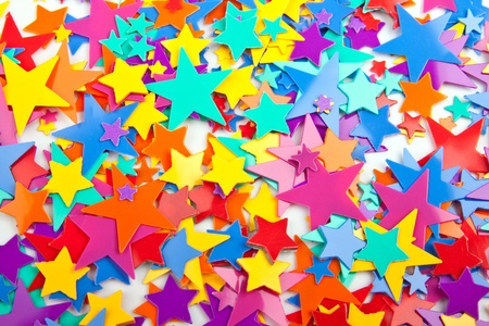 bright decoration color: Background of multicolored confetti stars