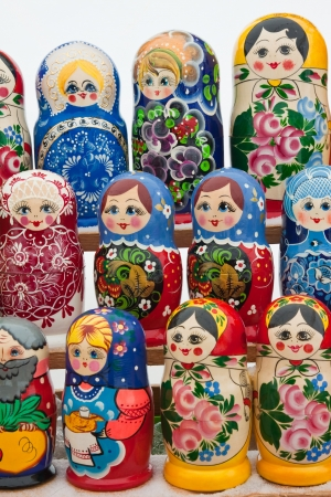 russian nesting dolls: Rows of Russian nesting dolls