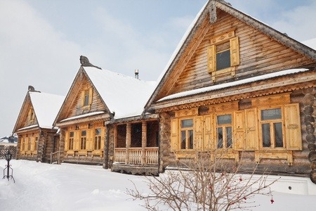 Street of the old wooden houses in Russia