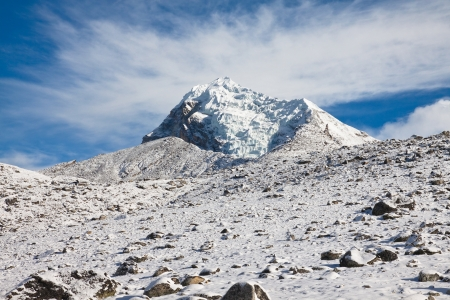 Rocky mountain with a glacier in sunny day  Trek to Everest base camp  Himalayas  Nepal