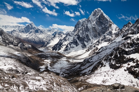 Mountains Ama Dablam, Cholatse, Tabuche Peak  Trek to Everest base camp  Himalayas  Nepal photo