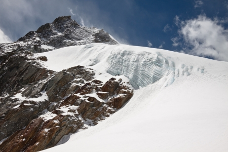 crack climb: Dangerous glacier  Himalayas  Nepal Stock Photo