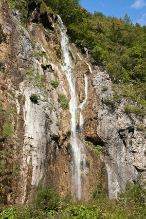 Great waterfall  Plitvice Lakes National Park  Croatia 版權商用圖片
