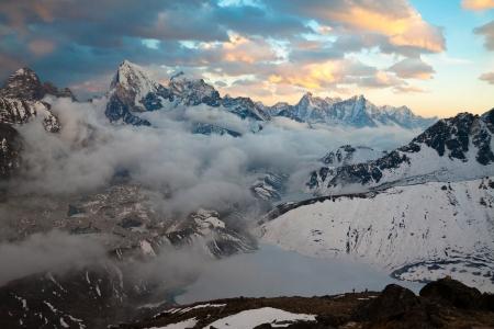 View from Gokyo Ri to Gokio, lake Dudh Pokhari, glacier Ngozumba, tops Cholatse and Tabuche
