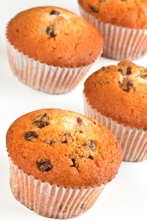 Muffins with raisins for breakfast Stock Photo