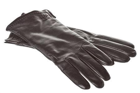 女士黑色皮手套隔離 版權商用圖片