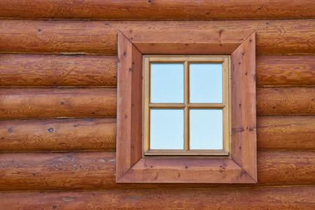 One window of old wooden house Stock Photo