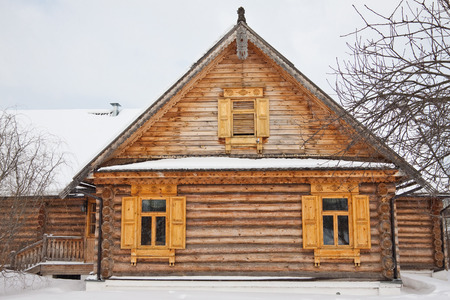 dacha: The old wooden house in Russian village