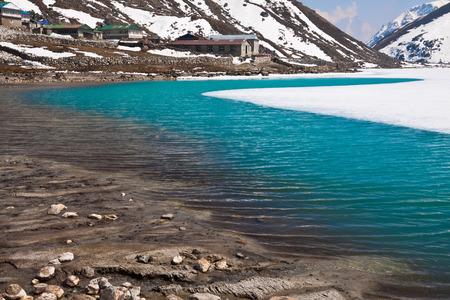 Lake Dudh Pokhari and village Gokyo. Trek to Everest base camp. Himalayas. Nepal
