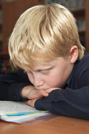 Elementary school. Schoolboy reading a book Stock Photo