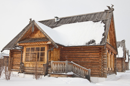 The old wooden houses in Russian village