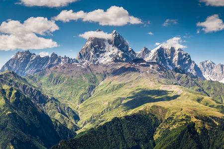 Beautiful landscape with Caucasus mountain Ushba. Svaneti region of Georgia 版權商用圖片