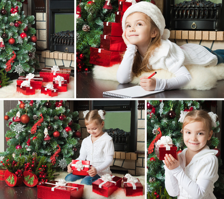 Christmas collage. Dreaming girl in Santa hat writes letter to Santa near christmas tree Stock Photo