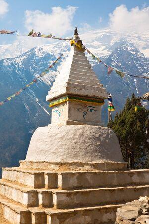 buddhist stupa: Buddhist stupa with prayer flags. Nepal