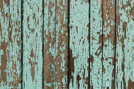 Old cracked turquoise paint  texture. Wooden background
