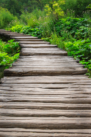 Wooden bridge footpath in the forest. Croatia Stock Photo