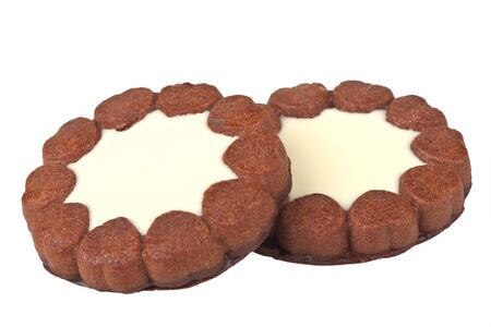 Two biscuits isolated on a white background Stock Photo