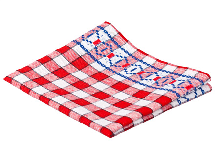 Kitchen towel with red cells isolated on a white background