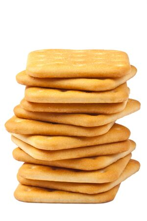 Heap of crackers isolated on a white background