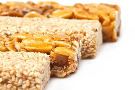 Honey bars with peanuts and sesame seeds Stock Photo