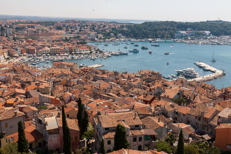 Croatian architecture in the old city of Rovini on the mediterranean coast. Panoramic view Stock Photo