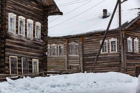Russian traditional wooden peasant houses. Kizhma village, Mezen district, Arkhangelsk region, Russia Stok Fotoğraf
