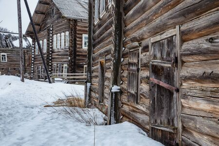 Russian ancient wooden houses in Kizhma village. Arkhangelsk region, Russia
