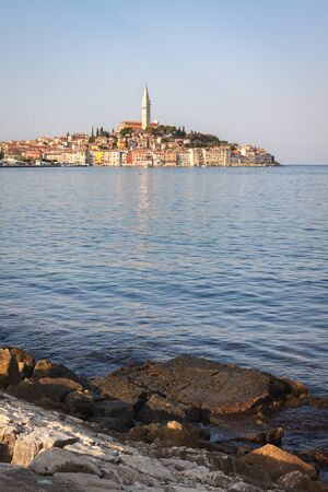 The historic part of city Rovinj with the Church of Saint Euphemia. Adriatic sea. Croatia Stok Fotoğraf
