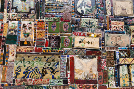 TBILISI, GEORGIA - July 27, 2014: Ornamental tiles on the wall of marionette theatre on Shavteli street in the center of Tbilisi Editöryel