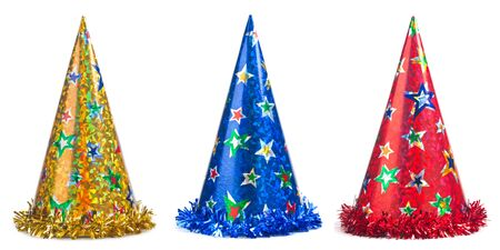 Three colorful party hats collage on a white background Stok Fotoğraf