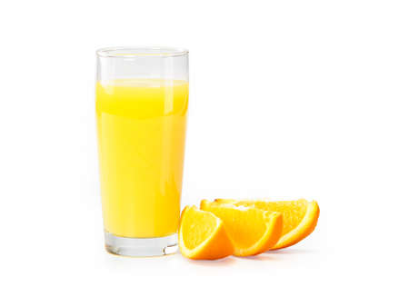 A glass of orange juice on a white background and orange slices photo
