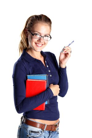 Smiling girl student in eyeglasses with tablet. Isolated photo
